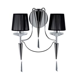 Duchess Chrome 2 Light Wall Bracket With Black String Shades & Crystal Sconces