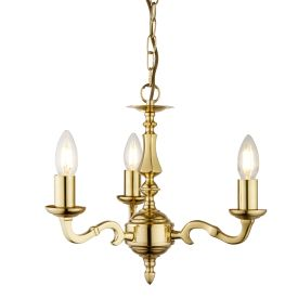 Seville Polished Solid Brass 3 Light Fitting With Hexagonal Column