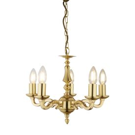 Seville Polished Solid Brass 5 Light Fitting With Hexagonal Column