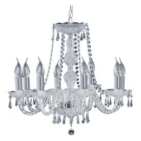 Hale Chrome 8 Light Chandelier With Crystal Trimmings