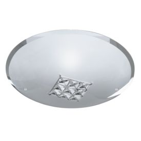 Quadrex Round Flush (32cm Dia) Light With Square Crystal Windows