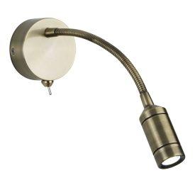 Led Wall Light - Flexi Arm - Antique Brass