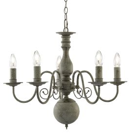 Greythorne Steel 5 Light Fitting With Textured Grey Finish