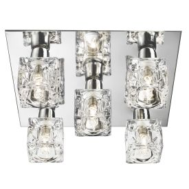 Cool Ice Chrome 5 Light Square Flush Fitting With Ice Cube Glass