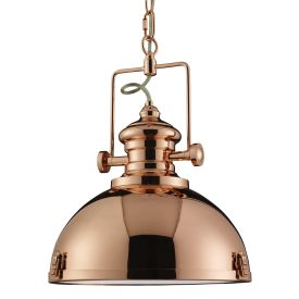 Metal Copper Industrial Pendant Light With Frosted Glass Lens