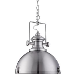 Metal Industrial Satin Silver Pendant Light With Acrylic Diffuser