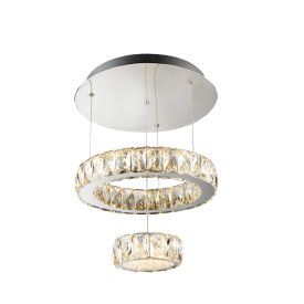 Led 2 Tier Ceiling Flush, Chrome, Clear Glass