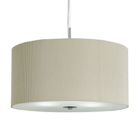 Cream Drum Pleat 3 Light Pendant With Frosted Glass Diffuser