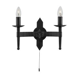 Cartwheel 2 Light Wall Bracket In Black Wrought Iron