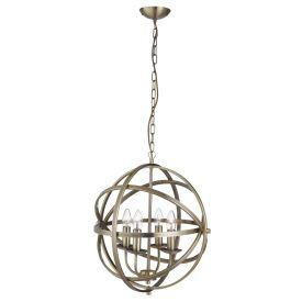 Orbit Antique Brass 4 Light Spherical Pendant Light