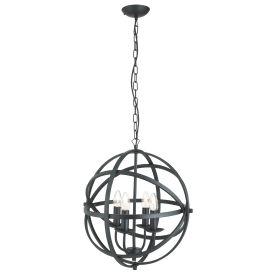 Orbit Matt Black 4 Light Spherical Pendant Light
