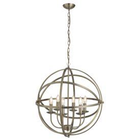 Orbit Antique Brass 6 Light Spherical Pendant Light