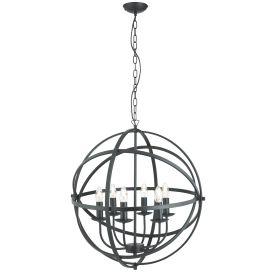 Orbit Matt Black 6 Light Spherical Pendant Light