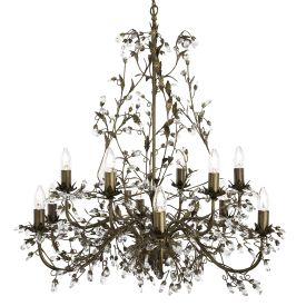 Almandite Brown Gold Finish 12 Light Chandelier With Crystal Dressing