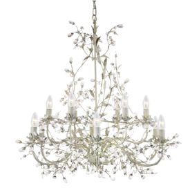 Almandite Cream Gold Finish 12 Light Chandelier With Crystal Dressing