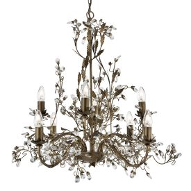 Almandite Brown Gold Finish 8 Light Chandelier With Crystal Dressing