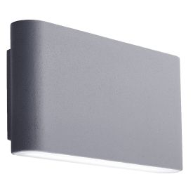 Grey Aluminium Led Ip44 Outdoor Wall Light Frosted Polycarbonate Shade