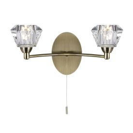 Sierra Antique Brass 2 Light Wall Bracket With Sculptured Glass Shades