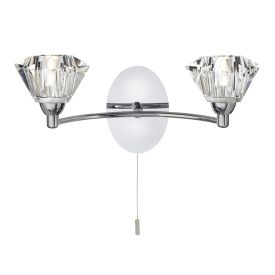 Sierra Chrome 2 Light Wall Bracket With Sculptured Glass Shades