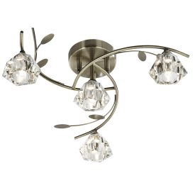 Sierra Antique Brass 4 Light Semi-flush Fitting With Sculptured Glass Shades