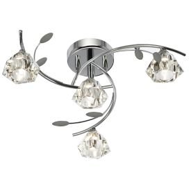 Sierra Chrome 4 Light Semi-flush Fitting With Sculptured Glass Shades