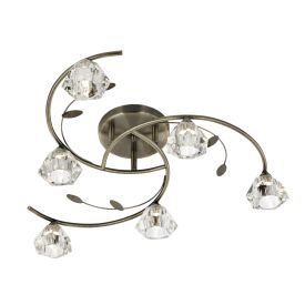 Sierra Antique Brass 6 Light Semi-flush Fitting With Sculptured Glass Shades
