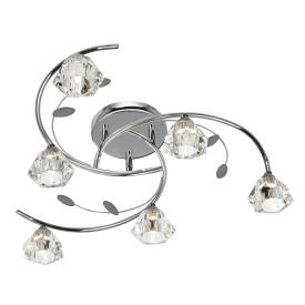 Sierra Chrome 6 Light Semi-flush Fitting With Sculptured Glass Shades