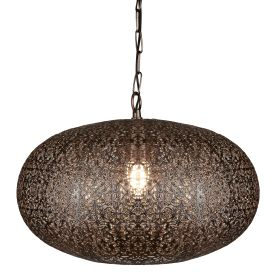 1 Light Moroccan Pendant, Antique Copper