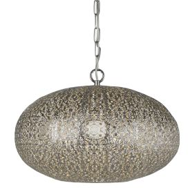 1 Light Moroccan Pendant, Shiny Nickel