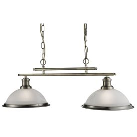 Bistro Antique Brass 2 Light Ceiling Bar Pendant With Marble Glass Shades