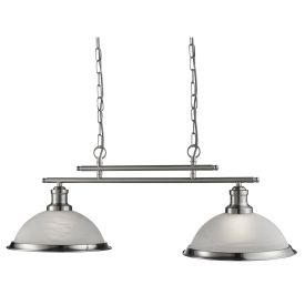 Bistro Satin Silver 2 Light Ceiling Bar Pendant With Marble Glass Shades