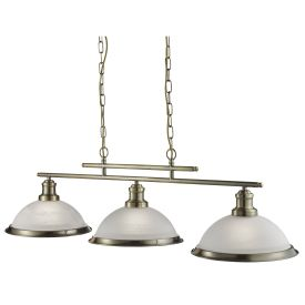 Bistro Antique Brass 3 Light Ceiling Bar Pendant With Marble Glass Shades