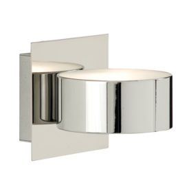 Chrome Circular Wall Light With Square Back Plate & Glass Diffuser G9 Led