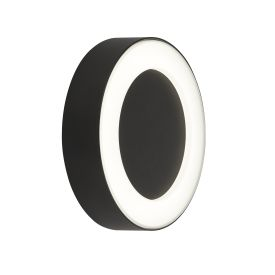 Outdoor Led Circle Wall Light - Black With Frosted Diffuser