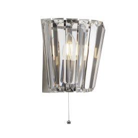 Tiara 1lt Wall Light, Chrome With Crystal Glass