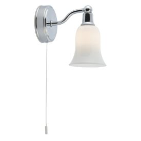 Ip44 Chrome Wall Light With White Glass Shade