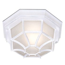 Die Cast Aluminium White Ip44 Hexagonal Flush Outdoor With White Sanded Glass