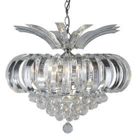Sigma Chrome 5 Light Fitting With Clear Crystal Acrylic Prisms & Balls