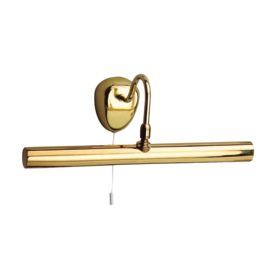 Polished Brass 2 Light Picture Light With Adjustable Knuckle Joint