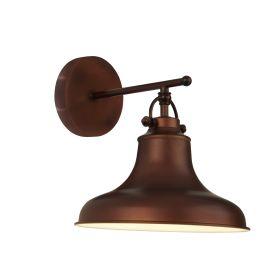 Dallas 1lt Industrial Wall Light, Antique Brown