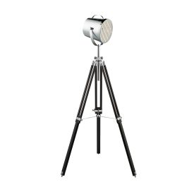 Stage Light Black Floor Lamp With Stylish Chrome Shade