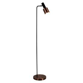 1 Light Spot/task Floor Lamp, Black, Antique Copper Shade