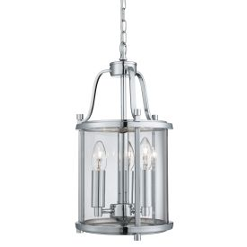 Victorian Lantern Chrome 3 Light Ceiling Fitting With Clear Glass Panels