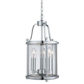 Lantern Grande, 3lt Chrome, Clear Glass