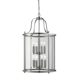 Victorian Lantern Chrome 8 Light Ceiling Fitting With Clear Glass Panels