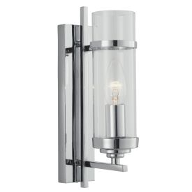 Milo Chrome Wall Light With Clear Glass Cylinder Shade