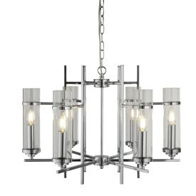 Milo Chrome 6 Light Fitting With Clear Glass Cylinder Shades