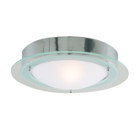 Ip44 Chrome Flush Fitting With Opal Glass  & Clear Halo