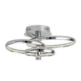 Led 3 Ring Ceiling Flush, Chrome, Clear Crystal Decoration