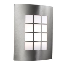 Stainless Steel Ip44 Outdoor Wall Light With Square Opal Polycarbonate Diffuser